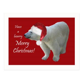 Christmas Greeting Card Polar Bear Santa
