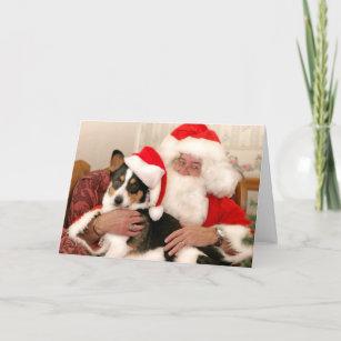 christmas greeting card santa and his welsh corgi - Christmas Corgi