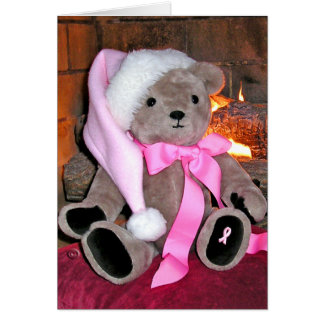 Christmas Greeting Card-Teddy bear in pink hat. Card