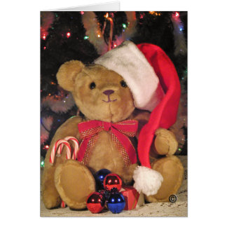 Christmas Greeting Card-Teddy Bear in red hat. Card