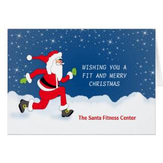 Christmas Greeting card with Jogging Santa Snow