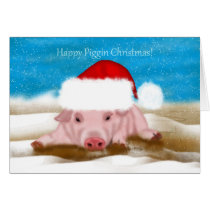 Christmas Greeting Card With Pig In Christmas Hat