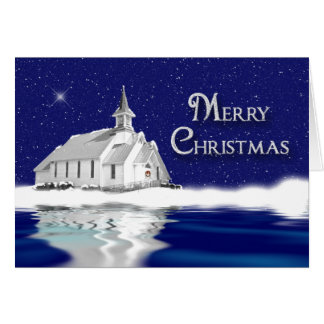 CHRISTMAS GREETING -  COUNTRY CHURCH - SNOW CARD