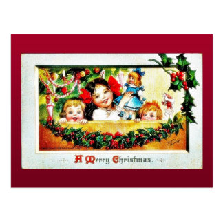 Christmas greeting kids playing with toys postcards