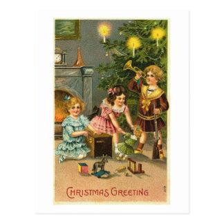 Christmas Greeting Kids Tree Toys Postcards
