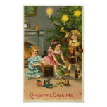Christmas Greeting Kids, Tree, Toys Posters