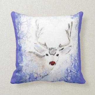 Christmas Greeting Rudolph Deer Blue Snowflakes Throw Pillow