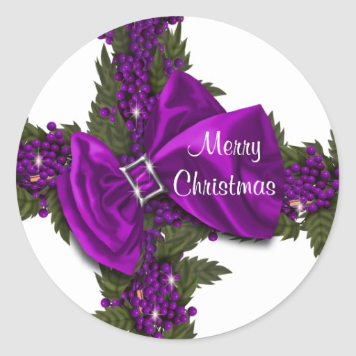 Christmas greeting seals purple PERSONALIZE Sticker