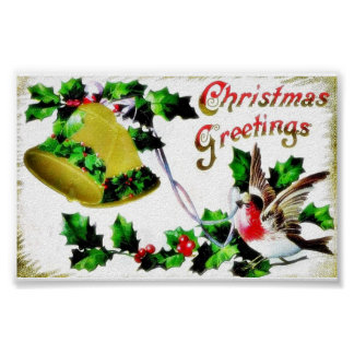 Christmas greeting with a bird and a bell poster