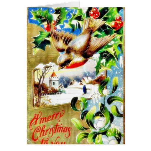 Christmas greeting with a bird flying down and sce greeting card