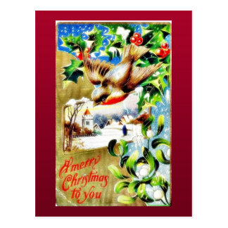 Christmas greeting with a bird flying down and sce postcard