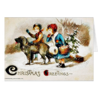 Christmas greeting with a boy and a girl going wit card