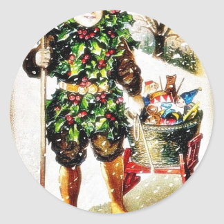 Christmas greeting with a boy brings basket of gif classic round sticker