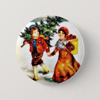 Christmas greeting with a boy carrying christmas t button