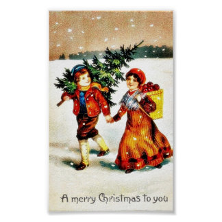 Christmas greeting with a boy carrying christmas t poster