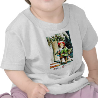 Christmas greeting with a boy entering into a hous t shirt