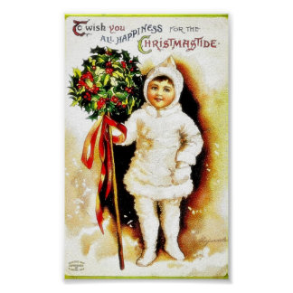 Christmas greeting with a boy holding holy leaves poster