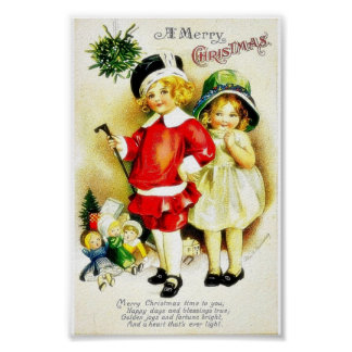 Christmas greeting with a boy holds a stick and st poster