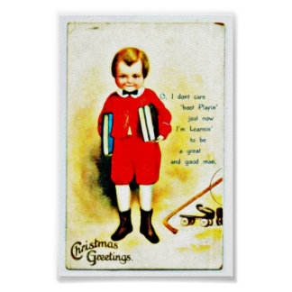 Christmas greeting with a boy holds books in both print