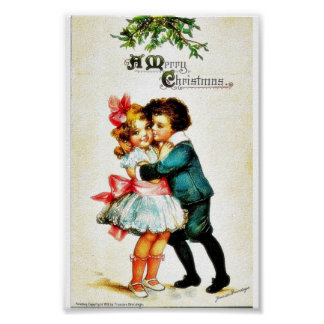 Christmas greeting with a boy hugs a girl poster