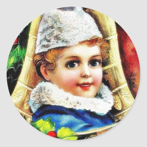 Christmas greeting with a boy in the bell round sticker