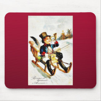 Christmas greeting with a boy playing music and ri mouse pad