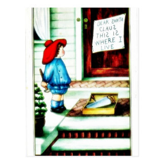 Christmas greeting with a boy rings the bell postcards