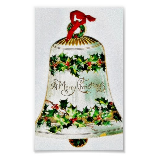 Christmas greeting with a decorated bell poster