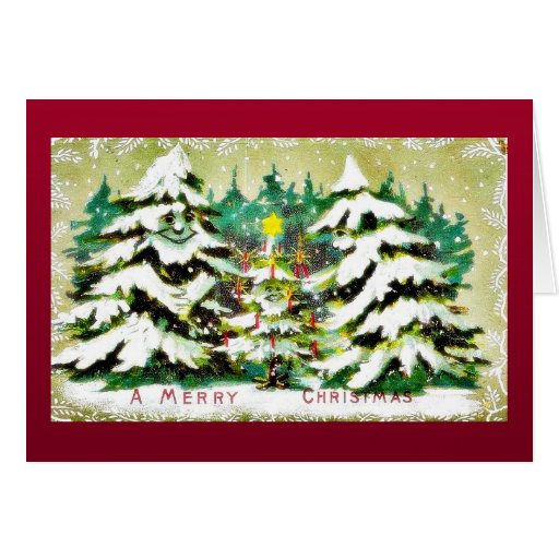 Christmas greeting with a girl and boy walking card