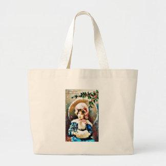Christmas greeting with a girl bag