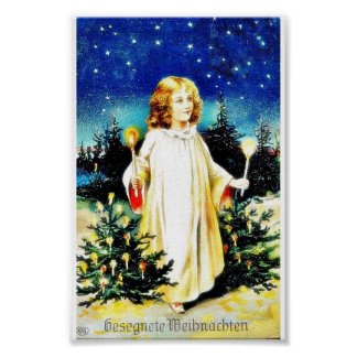 Christmas greeting with a girl comes with candle i poster