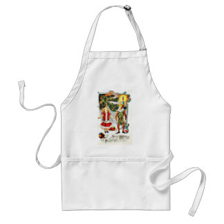 Christmas greeting with a girl dance with a jocker adult apron