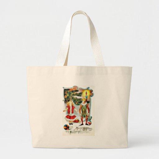 Christmas greeting with a girl dance with a jocker jumbo tote bag