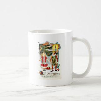 Christmas greeting with a girl dance with a jocker mugs