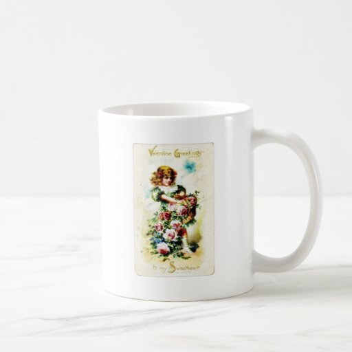 Christmas greeting with a girl goes with basket of mugs