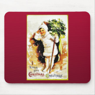 Christmas greeting with a girl holds bunch of leav mouse pads