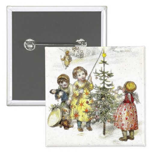 Christmas greeting with a girl lets fire on a cand pins