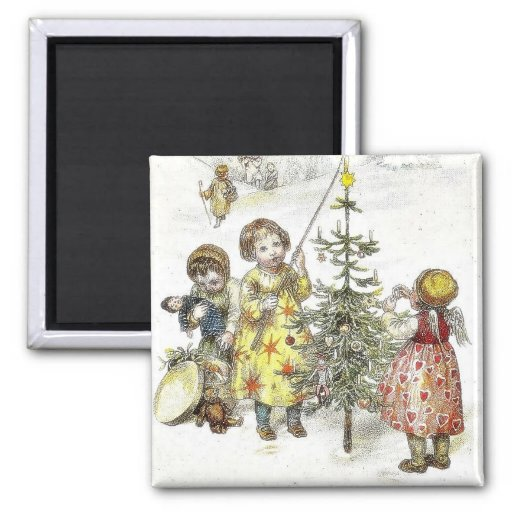 Christmas greeting with a girl lets fire on a cand refrigerator magnets