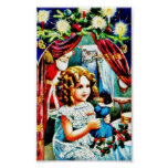 Christmas greeting with a girl looking at a toy, s print