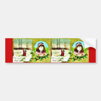 Christmas greeting with a girl photo and santa cla car bumper sticker