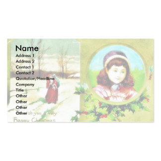 Christmas greeting with a girl photo and santa cla Double-Sided standard business cards (Pack of 100)