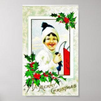 Christmas greeting with a girl photo frame print
