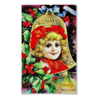 Christmas greeting with a girl photo merged in the print