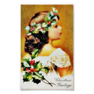 Christmas greeting with a girl poster