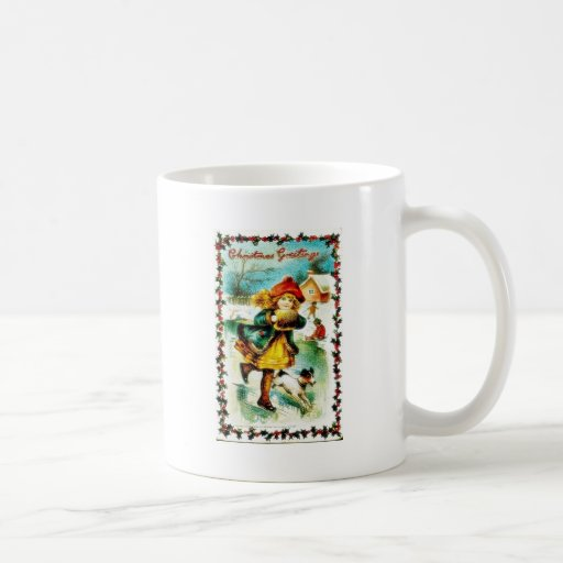 Christmas greeting with a girl walking with a dog mugs