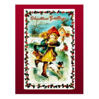 Christmas greeting with a girl walking with a dog postcard