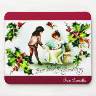 Christmas greeting with a girl wishes a princess mouse pads
