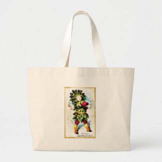 Christmas greeting with a girl wore christmas tree canvas bags