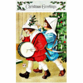 Christmas greeting with a guy beating drum and ano cut out