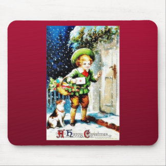Christmas greeting with a guy knocks the door with mouse pad